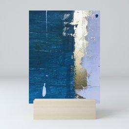 Rain [1]: a minimal, abstract mixed-media piece in blues, white, and gold by Alyssa Hamilton Art Mini Art Print