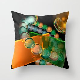 orange and green glass Throw Pillow
