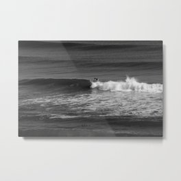 Surfer in Black and White Metal Print