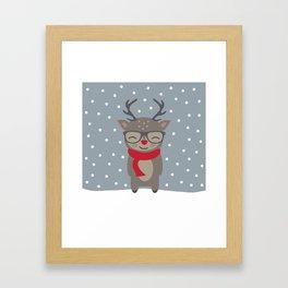 Merry Christmas Deer Framed Art Print