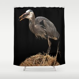 Heron Eating the Mole Shower Curtain