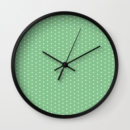 White dots on green background Wall Clock