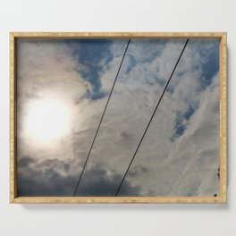 clouds and wire, abstract, no.02 Serving Tray