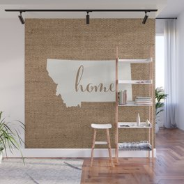 Montana is Home - White on Burlap Wall Mural
