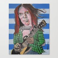 neil young Canvas Prints featuring Neil Young by Robert E. Richards