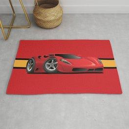 Red Hot Sports Car Cartoon Rug