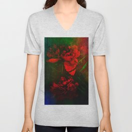 Mom's Red Red Peonies Unisex V-Neck