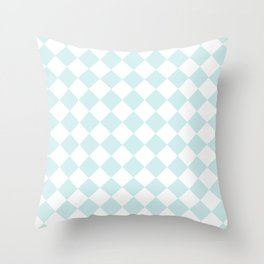 Diamonds - White and Light Cyan Throw Pillow