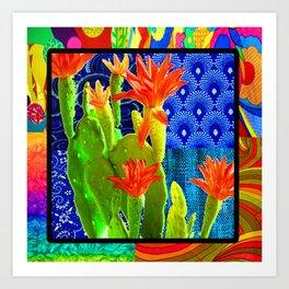 Orange Cactus Rainbow Art Print
