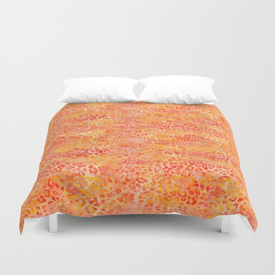 Orange Leopard Print Duvet Cover