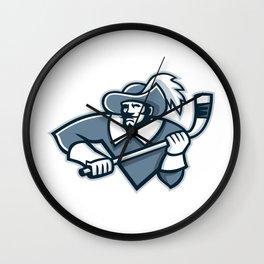 Musketeer Ice Hockey Mascot Wall Clock