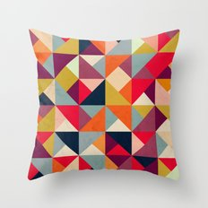 Bright Geometric Happy Pattern Throw Pillow