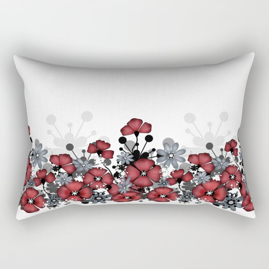 Red flowers on a white background . Rectangular Pillow