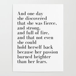 And one day she discovered that she was fierce Poster