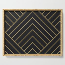 Diamond Series Pyramid Gold on Charcoal Serving Tray