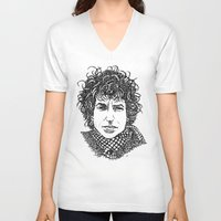 bob dylan V-neck T-shirts featuring Bob Dylan by The Curly Whirl Girly.