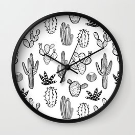 Cactus desert southwest palm springs festival house plant succulent terrarium black and white art Wall Clock