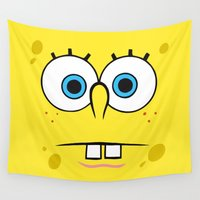 spongebob Wall Tapestries featuring Spongebob Surprised Face by Cute Cute Cute