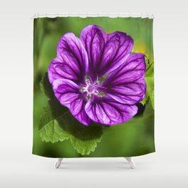 Purple Hollyhock Flower Shower Curtain
