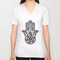postcard V-neck T-shirts featuring Morocco Postcard by Patrick Behan