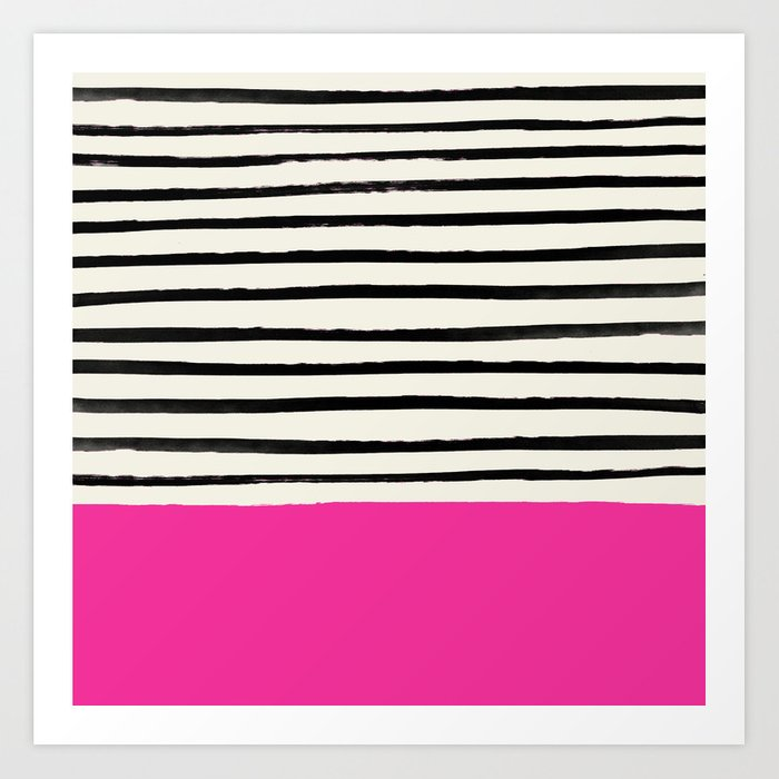 Bright Rose Pink x Stripes Kunstdrucke