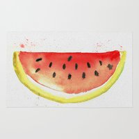 watermelon Area & Throw Rugs featuring watermelon  by Soso Creation