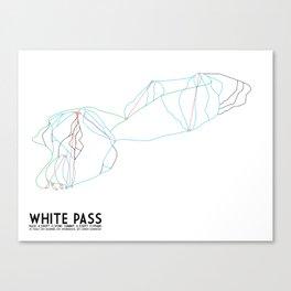 White Pass, WA - Minimalist Winter Trail Art Canvas Print