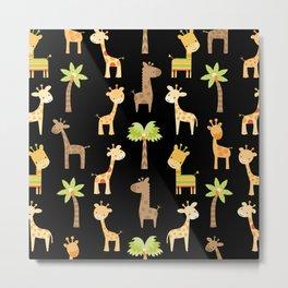 Giraffes - black Metal Print