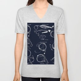 Maritime pattern- white fishing gear on darkblue background Unisex V-Neck
