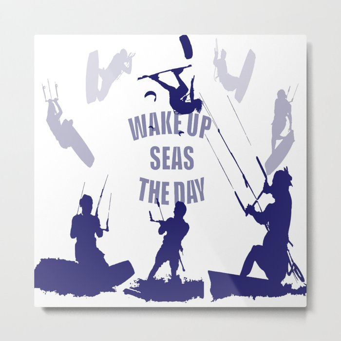 Wake Up Seas The Day Kiteboarder In Blue Shades Metal Print