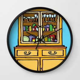 kitchen cupboard art, kitchen cupboard drawings, kitchen decor, Wall Clock