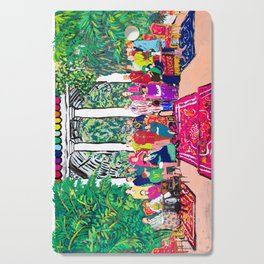 This is not a Party: Brightly colored painting of a group of people in a gigantic greenhouse with rugs and rainbow clothing Cutting Board