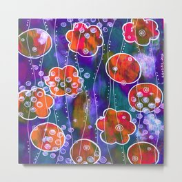Flower Circles Red Pattern Metal Print