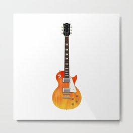 Guitar With Fire Graphics Metal Print