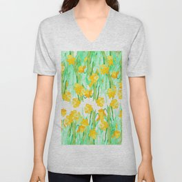 Colorful hand painted watercolor daffodil flowers  Unisex V-Neck