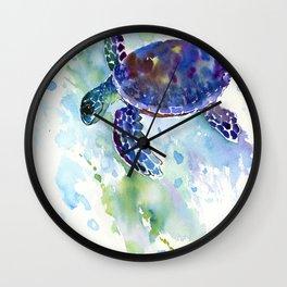 Happy Sea Turtle, aquatic marine blue purple turtle illustration Wall Clock