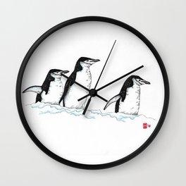 Chinstrap Penguin Trio Wall Clock
