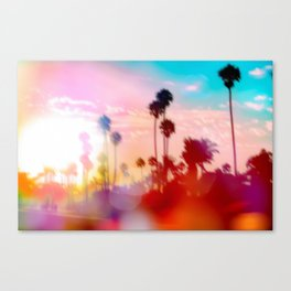 palm tree with sunset sky and light bokeh abstract background Canvas Print