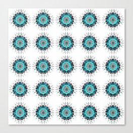 Rustic Turquoise Mandala Tile Canvas Print