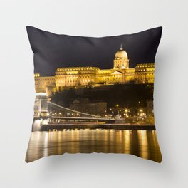 Budapest Chain Bridge And Castle Throw Pillow