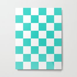 Large Checkered - White and Turquoise Metal Print