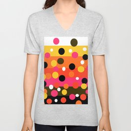Earth and Summer Sky - Color Strips with Circles Unisex V-Neck