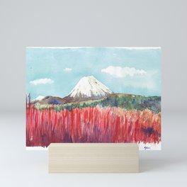 Ruapehu volcano , Tongariro National Park New Zealand Mini Art Print
