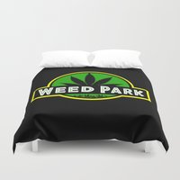jurassic park Duvet Covers featuring Weed Park Jurassic style  by Spyck