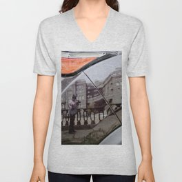 The reflection in the car Unisex V-Neck
