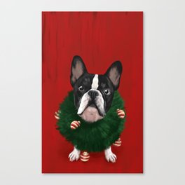 Christmas Bulldog Canvas Print