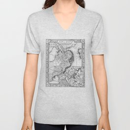 Vintage Map of Downtown Boston (1864) BW Unisex V-Neck