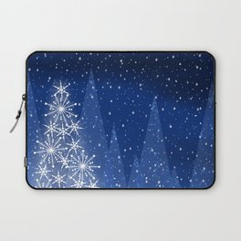 Snowy Night Christmas Tree Holiday Design Laptop Sleeve