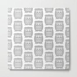 Mid Century Owl Pattern Grey Metal Print