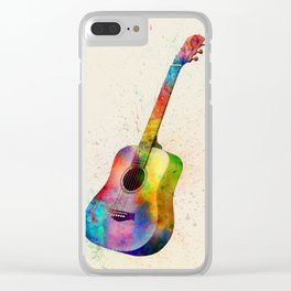 Acoustic Guitar Abstract Watercolor Clear iPhone Case
